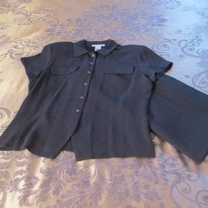 JONES NEW YORK CHARCOAL SKIRT AND BLOUSE